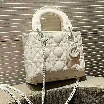 Dior High Quality Women Fashion Leather Tote Handbag Crossbody Satchel Shoulder Bag White