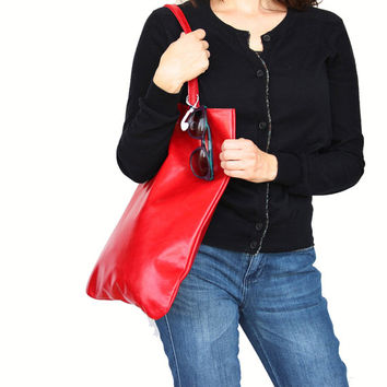 Red leather handbag by Leah Lerner