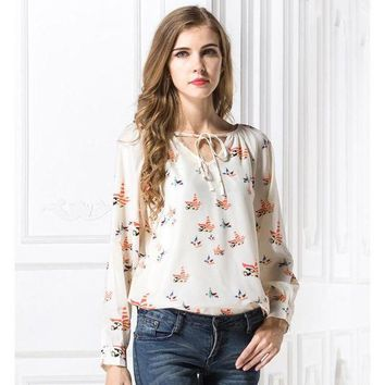 CREYLD1 2018 Spring New Arrival Women Colorful Birds Print Chiffon Blouses Female Casual Loose Neck Laced Up Shirts Girls Fashion Tops