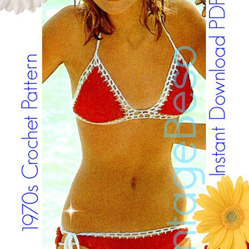 Bikini Crochet PATTERN Vintage 70s Red and White Bikini Beachwear Bathing Suit Swimwear Instant Download PDF Pattern