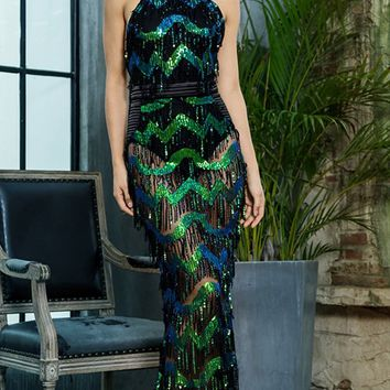 Stopping Traffic Black Green Sheer Mesh Sequin Chevron Stripe Pattern Tassel Sleeveless Backless Mock Neck Halter Maxi Dress