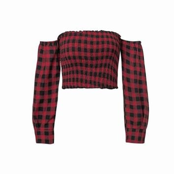 Tops and Tees T-Shirt Slash Neck Women Plaid All Cotton Long Sleeve Top Tee Red And Black Plaid Off Shoulder Casual Crop Top Tee AT_60_4 AT_60_4