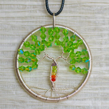 Chakra Tree Necklace Wire Wrapped Tree of Life Crystal pendant Rainbow.
