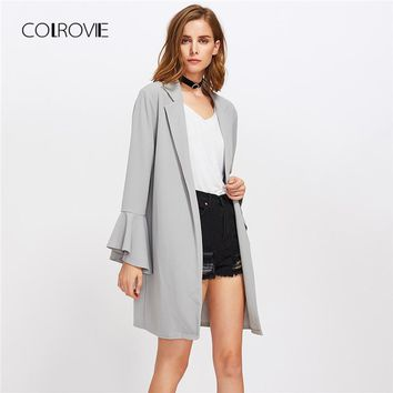 COLROVIE Grey Ruffle Trumpet Sleeve Open Front Trench Coat Office Lady Cardigan Outwear Women 2018 Autumn Elegant Long Coat