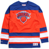 New York Knicks Mesh Longsleeve Jersey Blue / Orange
