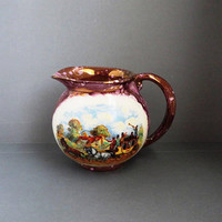 Vintage Gray's Pottery Creamer | Dickens Days Pitcher | Purple Gold Luster English Hand Painted Pottery