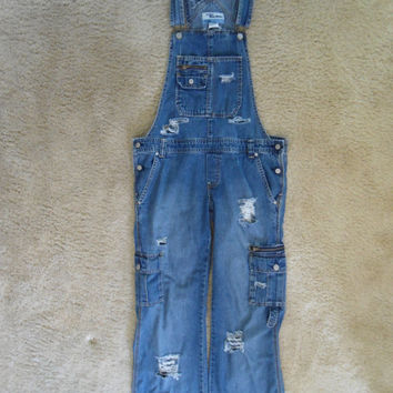 Vintage 60's 70's Style Bib Overalls Distressed Destroyed Frayed Denim Jeans