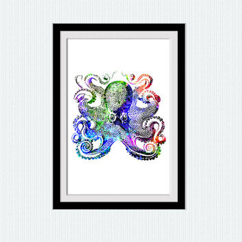 Octopus print Octopus watercolor art Nautical colorful poster Nautical wall decor Nautical nursery art Home decoration gift Kids room  W198