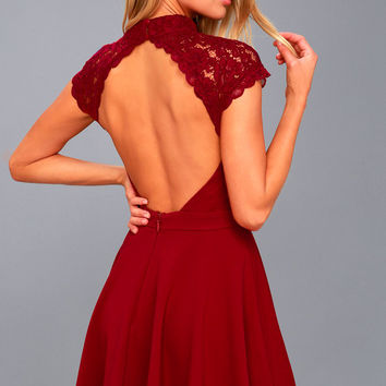 Instant Romance Wine Red Lace Backless Skater Dress