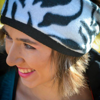 Fleece Ear Warmer - Zebra Pattern