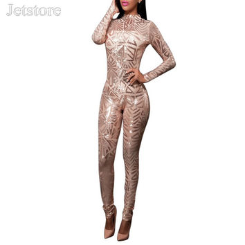 2016 New Summer Slim O neck Long sleeve Sequin Sequined Jumpsuit Sexy Stretch Ldaies Bodycon Club wear Clubwear Women clothing