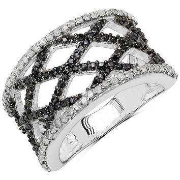 0.92 Carat Genuine Black Diamond & White Diamond .925 Sterling Silver Ring