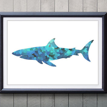 Blue Shark Ocean Life Print - Home Living - Shark Painting - Shark Wall Art - Wall Decor - Home Decor, House Warming Gifts