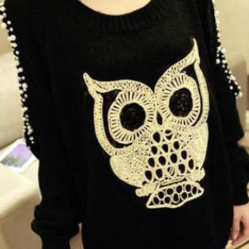 Black Beaded Owl Knit Pullover S006349