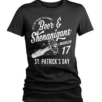 Shirts By Sarah Women's Funny ST. Patrick's Day Beer & Shenanigans Vintage T-Shirt