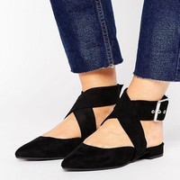 New Look Wide Fit Suedette Ankle Tie Pointed Shoe at asos.com