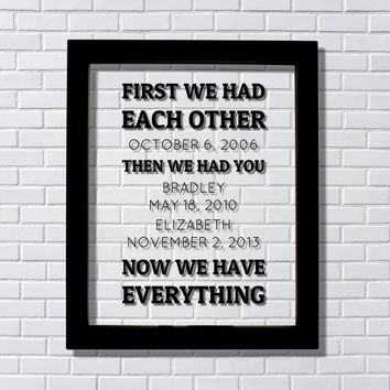 First we had each other then we had you now we have everything Anniversary Gift Children Names Dates