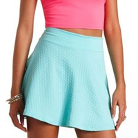 Diamond Jacquard High-Waisted Skater Skirt by Charlotte Russe - Aqua