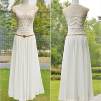 Trendy & Modern Round-neck Sleeveless Embroidery Waist Shaping Long Dress With-Belt