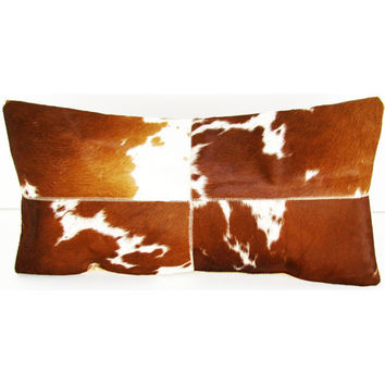 Design Accents SGC 116 Four Square 14x28 Tan Leather and Velvet Tan Four Square 14 x 28 Decorative Pillow
