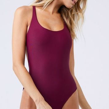 Asterik Scoop Neckline One Piece Swimsuit - Fig