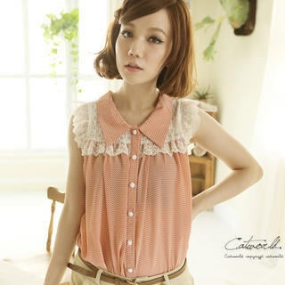 YESSTYLE: CatWorld- Lace-Panel Heart-Print Blouse (Pink - One Size) - Free International Shipping on orders over $150