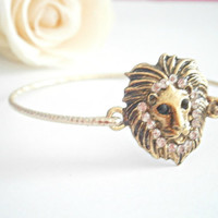 Lion Bangle Bracelet - Gold Color Bracelets - Animal Jewelry - Minimalist Jewellery - Rhinestone Braclet - Lion Charm Braclets