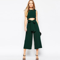 Fashion Solid Color Hollow Sleeveless Romper Jumpsuit Wide Leg Pants Trousers
