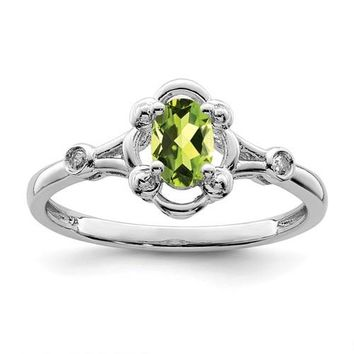 Sterling Silver Peridot Oval & Diamond Ring