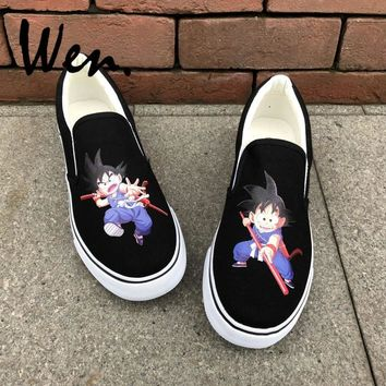 Wen Men Women's Slip On Shoes Design Custom Anime Son Goku Dragon Ball Unisex Canvas Sneakers Platform Espadrilles Flat