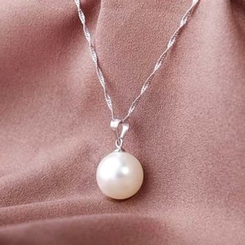 Vintage Love Wish Pearl Chain Necklace Shellhard White Imitation Pearl Necklace Oyster Drop Pendant Necklace For Women Jewelry