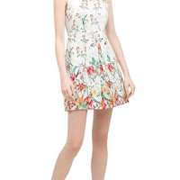Multi-Colored Floral Print Sleeveless Dress