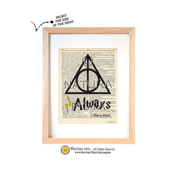 Harry Potter Always quote dictionary print-Deathly Hallows Symbol on book page-Harry Potter print-Upcycled Dictionary art- by NATURA PICTA