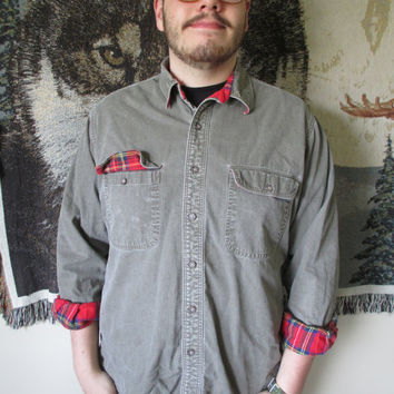 Vintage Red Flannel Lined Olive Green Heavy Grunge Button Down by L.L. Bean
