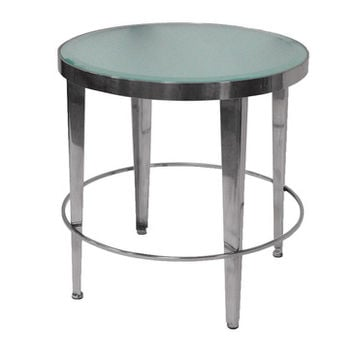 Allan Copley Designs Sarah Round End Table w/ Frosted Glass Top on Polished Chrome Base
