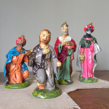 Vintage Japan Nativity set figurines three wise men and Joseph replacements