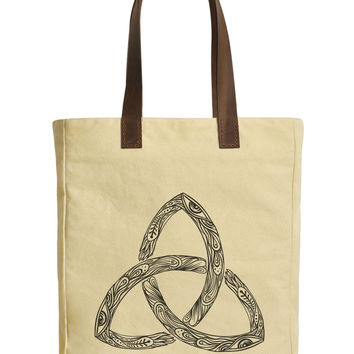 Women Trinity Sign Beige Print Canvas Tote Bags Leather Handles WAS_30