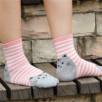 Animals Style Stripes Cat Footprints Socks Funny Crazy Cool Novelty Cute Fun Funky Colorful