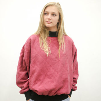 80's red quilted silk pullover sweater, vintage 1980s 1990s maroon black, 90s faded shirt, grimes, vtg tumblr, soft grunge, urban outfitters