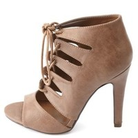 Cut-Out Lace-Up Peep-Toe Heels by Charlotte Russe - Taupe