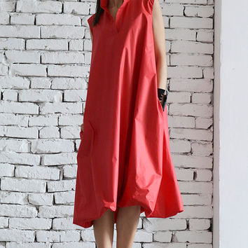 Red Maxi Dress / Plus Size Red Dress / Long Loose Dress / Wonderful Midi Dress by METAMORPHOZA