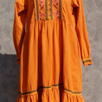 70's Hippie, Ethnic, Embroidered, Indian Tribal Boho Dress