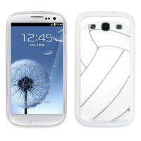 One Tough Shield ® Hybrid Flexible/Rigid Phone Case (White Bezel) for Samsung Galaxy S-III S3 - (Volleyball)