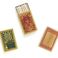 Jane Austen Matchbox Trio - Literary Matchbooks - Pair with a Candle - Tiny Book Lover Gift - Decorative Matches - Light a Literary Spark