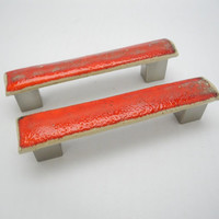 Drawer Pulls, Cabinet Handles, Handmade Ceramics for Home Decor Red Orange