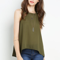 Chiffon Top With Slit Back Detail