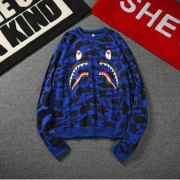 Bape Shark Long Sleeve Camouflage Couple Casual Jacket Sweater Top Blue