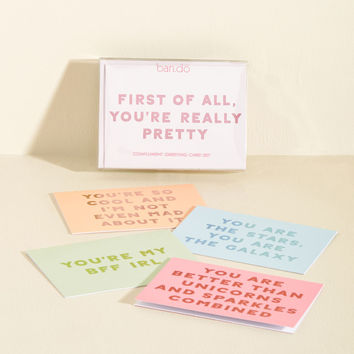 What's the Flatter? Notecard Set | Mod Retro Vintage Desk Accessories | ModCloth.com