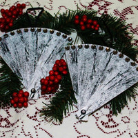 Silver and Black Fanned Photo Ornaments..Christmas Tree Ornaments..Set of 6..FREE 5 x 7 of original photo with purchase