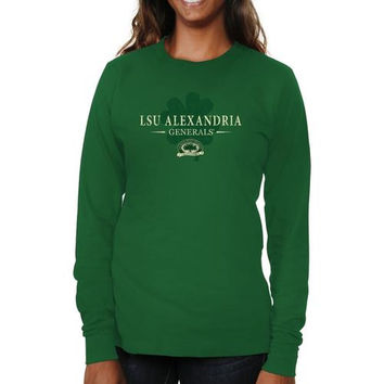 LSU Alexandria Generals Ladies St. Paddy's Long Sleeve Slim Fit T-Shirt - Green